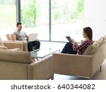 young couple relaxing at... | Shutterstock . vector #640344082