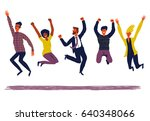 happy creative  group of people ... | Shutterstock .eps vector #640348066