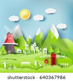 green eco city and life paper... | Shutterstock .eps vector #640367986
