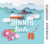 summer sale banner with flower  ... | Shutterstock .eps vector #640368922