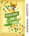 potato chips ads. vector... | Shutterstock .eps vector #640370752