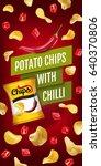 potato chips ads. vector... | Shutterstock .eps vector #640370806