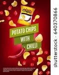 potato chips ads. vector... | Shutterstock .eps vector #640370866