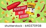 potato chips ads. vector... | Shutterstock .eps vector #640370938