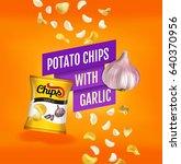 potato chips ads. vector... | Shutterstock .eps vector #640370956