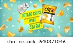 potato chips ads. vector... | Shutterstock .eps vector #640371046