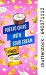 potato chips ads. vector... | Shutterstock .eps vector #640371112