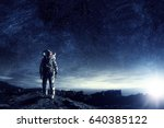 astronaut in outer space. mixed ... | Shutterstock . vector #640385122