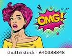 Stock vector wow female face sexy surprised young woman with open mouth and pink hair bright makeup and omg 640388848