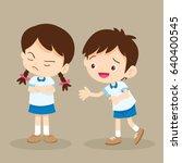 upset student girl and her... | Shutterstock .eps vector #640400545