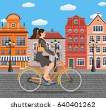 city style business lady with... | Shutterstock . vector #640401262