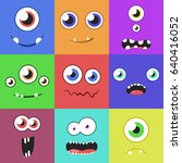 set of cartoon monster faces... | Shutterstock .eps vector #640416052