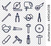 carpentry icons set. set of 16... | Shutterstock .eps vector #640416538