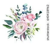 hand drawn watercolor flowers ...   Shutterstock . vector #640418962