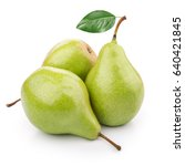 three ripe pears on white... | Shutterstock . vector #640421845