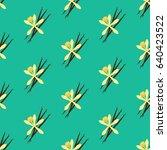 vanilla flower seamless pattern ... | Shutterstock .eps vector #640423522