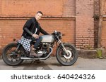 handsome rider biker guy in... | Shutterstock . vector #640424326