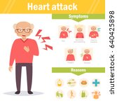 heart attack. symptoms and... | Shutterstock .eps vector #640425898