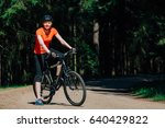 young pretty woman in helmet... | Shutterstock . vector #640429822