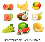 collection of fruit and berries.... | Shutterstock .eps vector #640434595