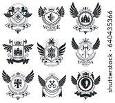 vintage emblems  vector... | Shutterstock .eps vector #640435366