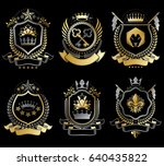 set of vector vintage elements  ... | Shutterstock .eps vector #640435822