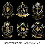 set of vector vintage elements  ... | Shutterstock .eps vector #640436176