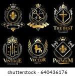 set of vector vintage elements  ... | Shutterstock .eps vector #640436176