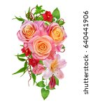 Stock photo floral background composition of delicate beautiful orange roses bright leaves red small flowers 640441906