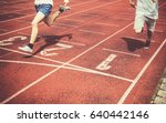 runners approaching the finish... | Shutterstock . vector #640442146