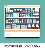 commercial refrigerator full of ... | Shutterstock .eps vector #640443382