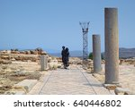Small photo of ISRAEL - APRIL 27, 2017: Allegoric composition with black metal sculptures and stone columns in archaeological exposition dated of ancient ages in Zippori National Park of Israel.