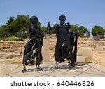 Small photo of ISRAEL - APRIL 27, 2017: Allegoric sculptures installed at the area of archaeological exposition dated of ancient ages in Zippori National Park of Israel.