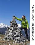 happy smiling woman hiker...   Shutterstock . vector #640448752