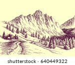 mountain road  alpine scene... | Shutterstock .eps vector #640449322