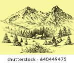 mountains vector wallpaper in... | Shutterstock .eps vector #640449475