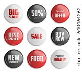 set of glossy sale buttons or... | Shutterstock .eps vector #640464262