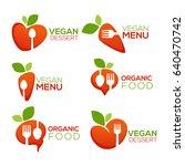 vegan and organic food emblem ... | Shutterstock .eps vector #640470742