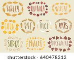vector set of cereal emblems.... | Shutterstock .eps vector #640478212