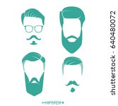 set of hipster man haircuts ... | Shutterstock .eps vector #640480072
