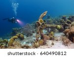 scuba diver and anchor... | Shutterstock . vector #640490812