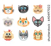 set of funny cartoon cats heads.... | Shutterstock .eps vector #640497022