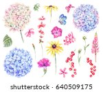 set of watercolor vintage... | Shutterstock . vector #640509175