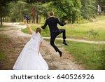 happy wedding couple  joyful... | Shutterstock . vector #640526926