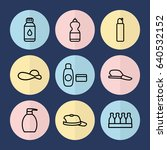 set of 9 cap outline icons such ... | Shutterstock .eps vector #640532152
