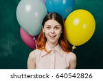 joyful woman with balloons  the ... | Shutterstock . vector #640542826