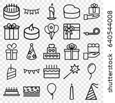 birthday icons set. set of 25... | Shutterstock .eps vector #640544008