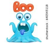 blue octopus cartoon alien... | Shutterstock .eps vector #640545118