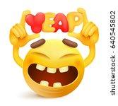 yellow smiley emoticon cartoon... | Shutterstock .eps vector #640545802