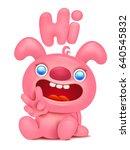 cute pink bunny cartoon... | Shutterstock .eps vector #640545832